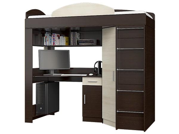 Кровать-горка Чердак со шкафом и столом